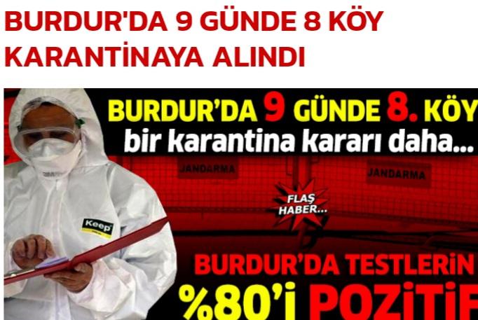 BURDUR'DA  TESTLERİN YÜZDE SEKSENİ POZİTİF